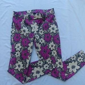HUE Jegging Legging Floral Purple Print Size L